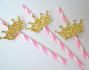 24 Gold Glitter Princess Crown Straws