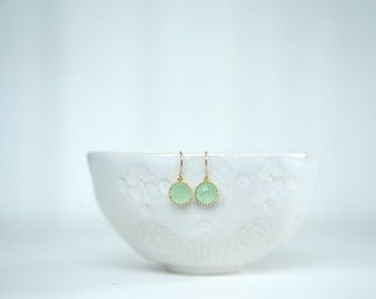 Mint Green and Gold Circle Earrings | Bridesmaid Earrings | Wedding Jewelry