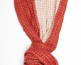 Red Linen Scarf - Organic Scarf  - Woman Scarf  - Linen Shawl
