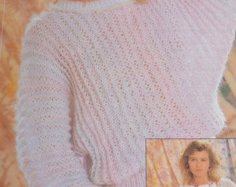 PDF lady's dolman sweater pattern jumper odpins vintage knitting pattern pdf INSTANT download only pdf 1980s