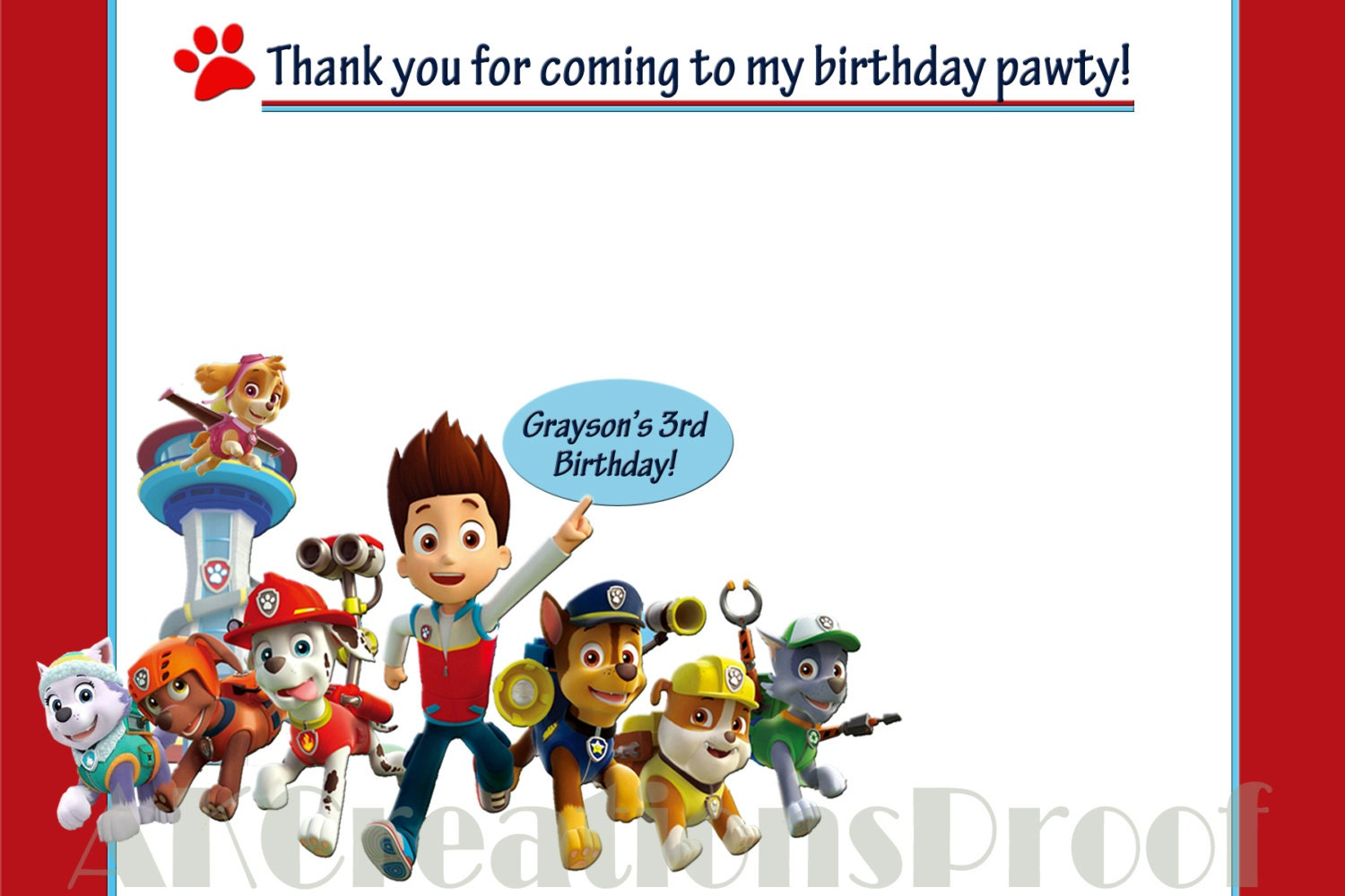 Paw Patrol theme Thank You Cards Set of by AlyKaneCreations