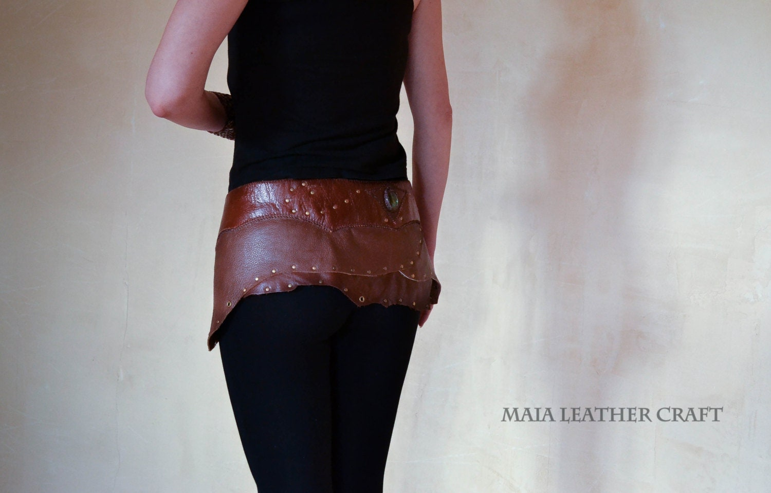 Leather - Mini skirt - labradorite - size S/M steampunk buy now online