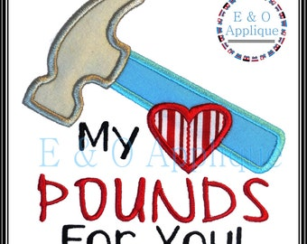 My Heart Pounds For You Applique - Valentine Embroidery Design - Valentine's Day Applique - Hear Applique Design - Heart Pounds Embroidery