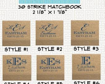 monogrammed matches, wedding matches, reception match book, monogram matchbook