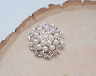 Pearl Rhinestone Embellishments - bridal accessories decoration - 1 piece
