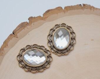 Oval Rhinestone Button Embellishment - Flatback Crystal - Clear - 3 pieces