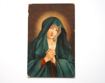 Postcard Our Lady of Sorrows antique Italian postcard of Sassoferrato's painting - Uffizi - not used