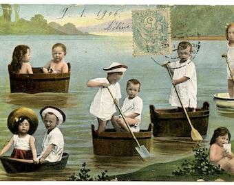 1906 Fantasy Babies in a Sail Boats Antique Postcard Edwardian Vintage Multi Multiple Babies Victorian