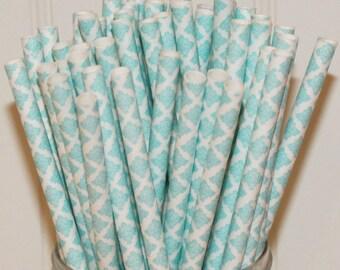 Paper Straws, 25 Light Blue Damask Paper Straws, Shabby Chic Paper Drink Straws, Vintage Wedding Straw, Pastel Blue Paper Straw, Baby Shower