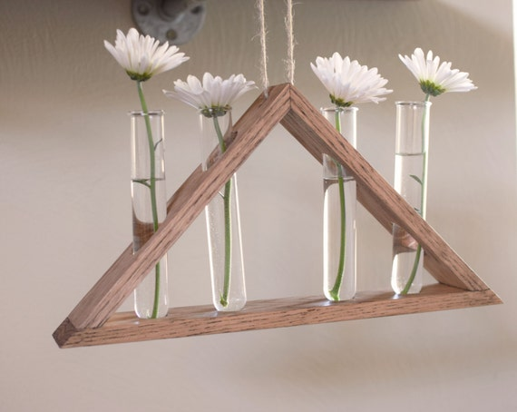 Rustic Hanging Laboratory Bud Vase Triangle Vase By Bourbonmoth