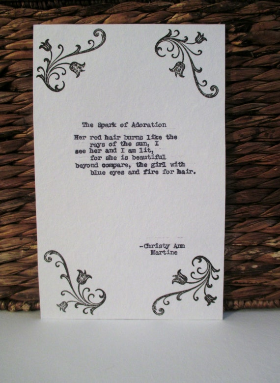 Redhead Poem Red Hair Gifts Love Poem for Girl or Woman With Red Hair ...