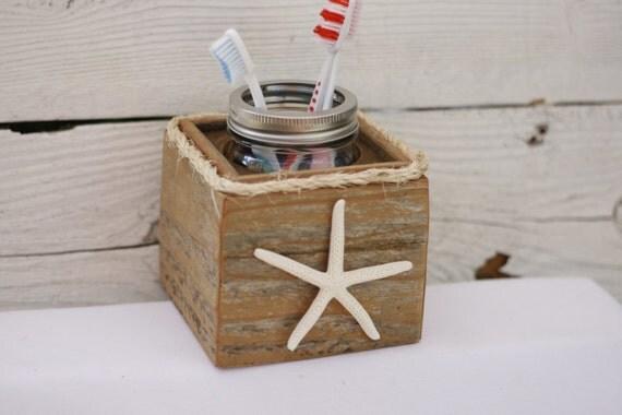 Toothbrush Holder Starfish Rustic Nautical Beach Ocean Theme