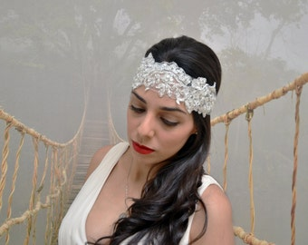 Lace Bridal Headband, Lace Hairpiece, Wedding Lace Headband.