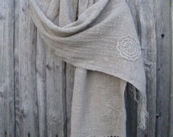 Linen scarf shawl Linen head's scarf shawl Women's clothing Bleached flax  Big gray linen shawl  WOMEN'S FASHION ACCESSORIES Best scarf