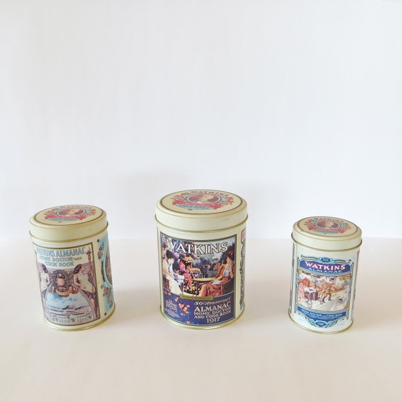 vintage tin kitchen canisters round tin by avintagecollective