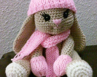 Crochet Bianca Bunny with Hat,Scarf and Mittens Pattern Only