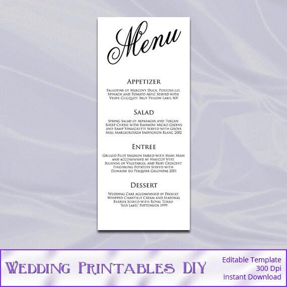 Calligraphy wedding menu template diy by weddingprintablesdiy