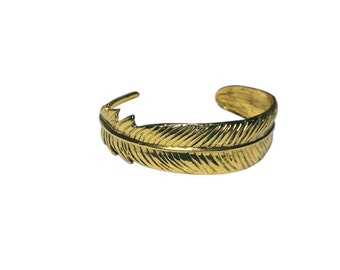 Adjustable Gold Feather Cuff Bracelet, Gold plated Wide Band Bangle Bracelet, Stacking Bangles, Gifts for Her