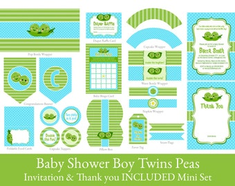 Twin Boys Baby Shower printable party set, Peas in a pod party printables, Twins baby shower printable decorations, INVITATION INCLUDED