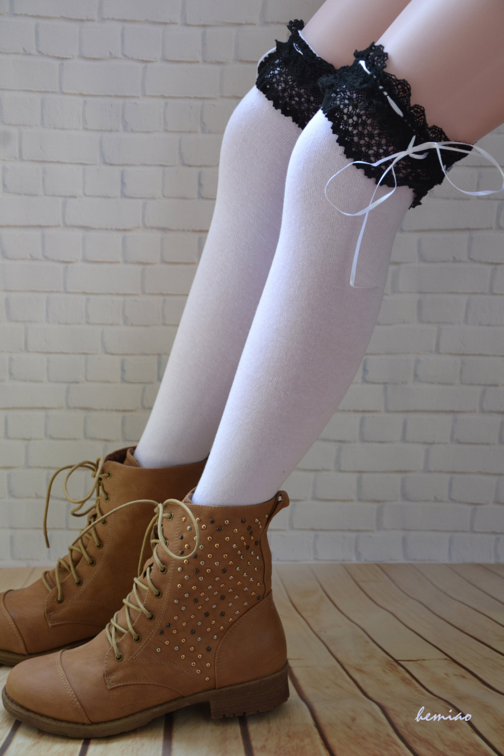 thigh high lace boot socks black lace and white