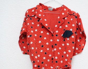 vintage dress nautical polka dots size M sailor