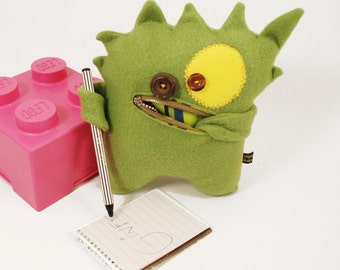 Green monster plushie Zipper mouth pocket