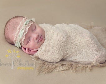 Vintage - inspired lace with light green ribbon tieback. Newborn photo prop. Newborn tie back.