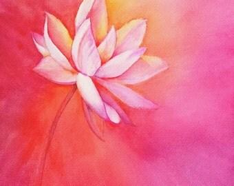 """Lotus at Sunrise watercolor print 11 X 14"""""""