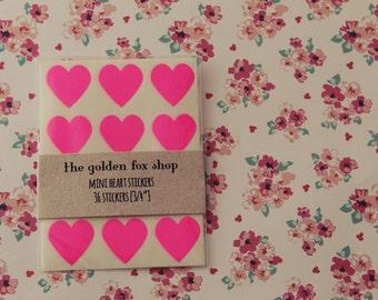 mini neon pink heart stickers [36]