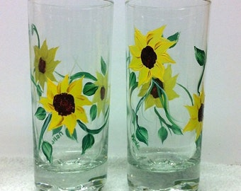 Hand painted sunflower water glasses