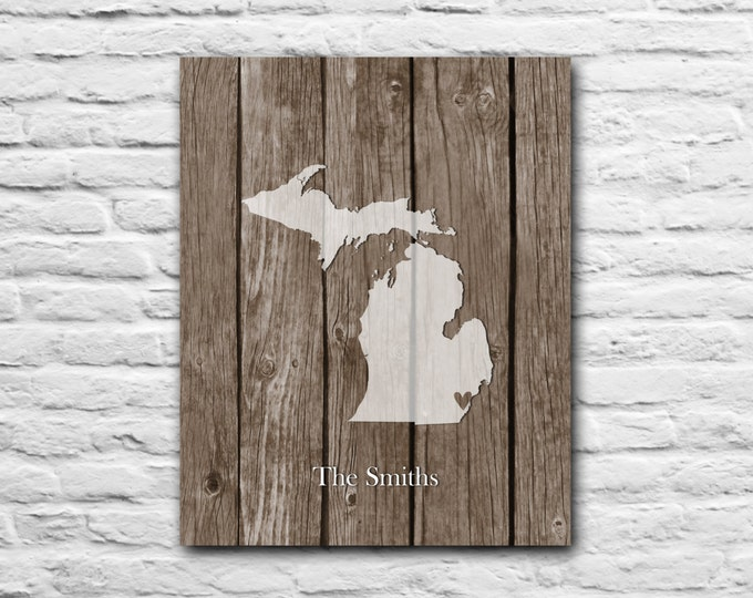 Personalized Engagement Gift State Map Print - Any Location Wedding Gift Family Name Personalized Art Print Michigan Wisconsin Minnesota