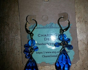 Blue Crystals Dangling Earring