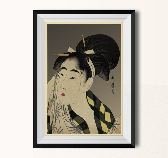Japanese wall art utamaro vintage inspired illustration - Vintage inspired wall art ...
