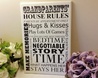 Wooden Sign, Grandparents House Rules,Gifts for Grandparents, Grandparent Sign, Grandparent Gift, Grandparent Decor, wall plaque,206