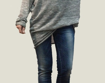 Loose long Gray Blouse/ Knitt Oversized Top/ Summer Sweater/Extra Long Sleeves / Extravagant Tunic/ F1068
