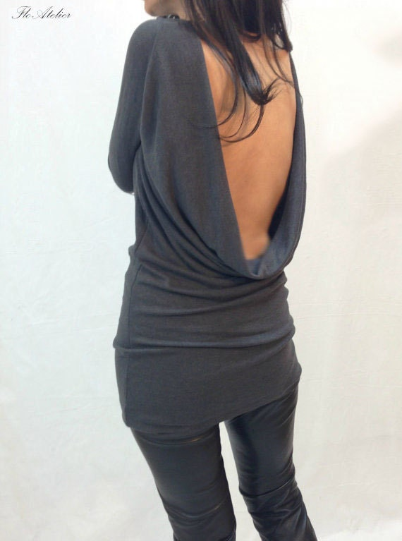 grey backless top blouse long sleeve open back slim by