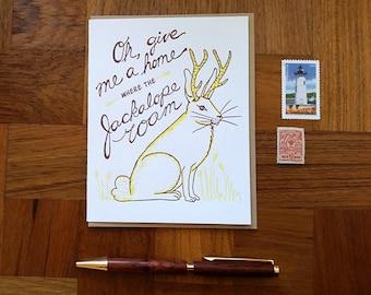 Jackalope, Letterpress Note Card, Blank Inside