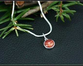Simple pendant necklace, Wood pendant necklace Sterling silver pendant necklace, Delicate silver necklace wood pendant, Pink silver necklace