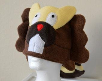 Bibarel Pokemon Fleece Hat with Earflaps and Tail