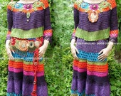 Frida Kahlo style crochet dress, colorful, Slow fashion, folk dress , Exclusive dress