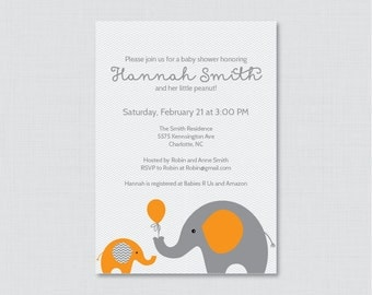 Elephant Baby Shower Invitation Printable Invite - Elephant Baby Shower Invites in Orange and Gray and Subtle Chevron Baby - 0024-O