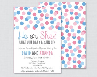 Pink and Blue Gender Reveal Invitation Printable or Printed - Pink or Blue, He or She, Girl or Boy Invitation, Gender Reveal Invites 0013-A