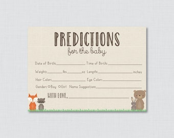 burlap and lace baby shower prediction cards instant