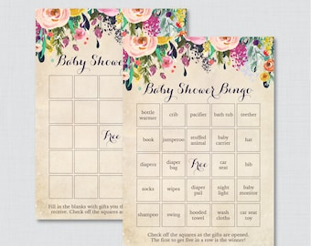 Floral Baby Shower Bingo Cards - Printable Blank Bingo Cards AND PreFilled Cards - Colorful Flower Baby Shower Bingo Cards - 0025-A