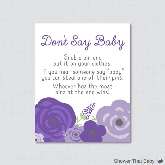 dont say baby baby shower game with purple flowers