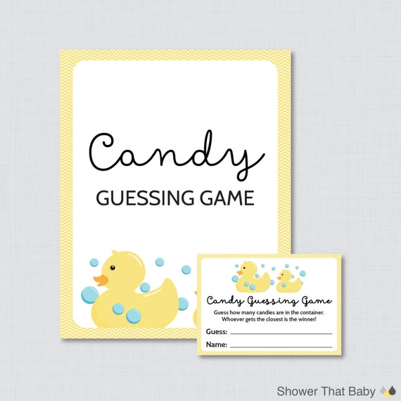 rubber ducky baby shower candy guessing game printable guess how