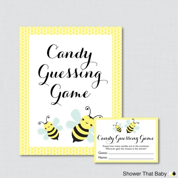 bee baby shower candy guessing game printable guess how many candies
