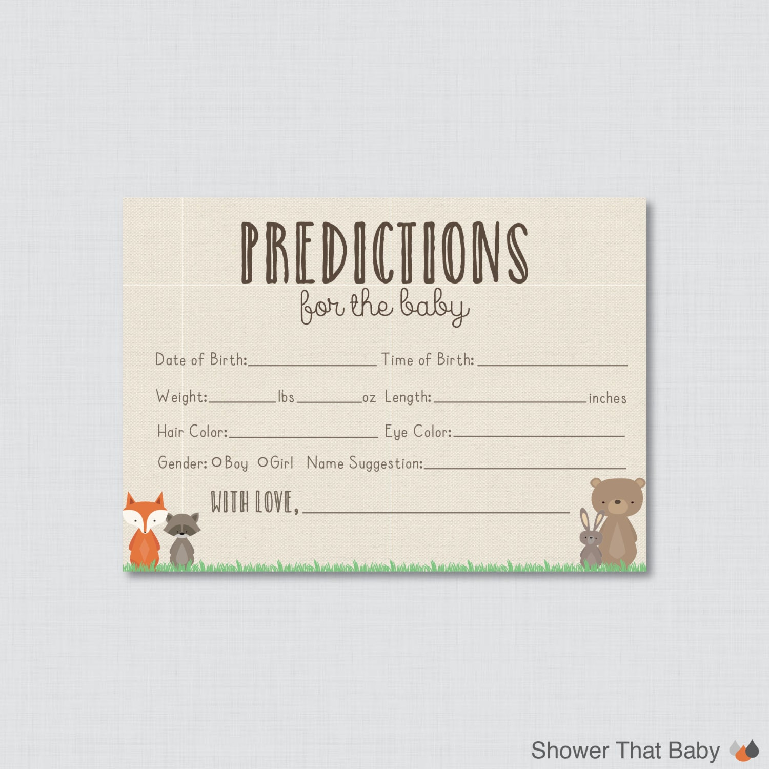 Woodland baby shower prediction cards printable instant for Guess the baby weight template
