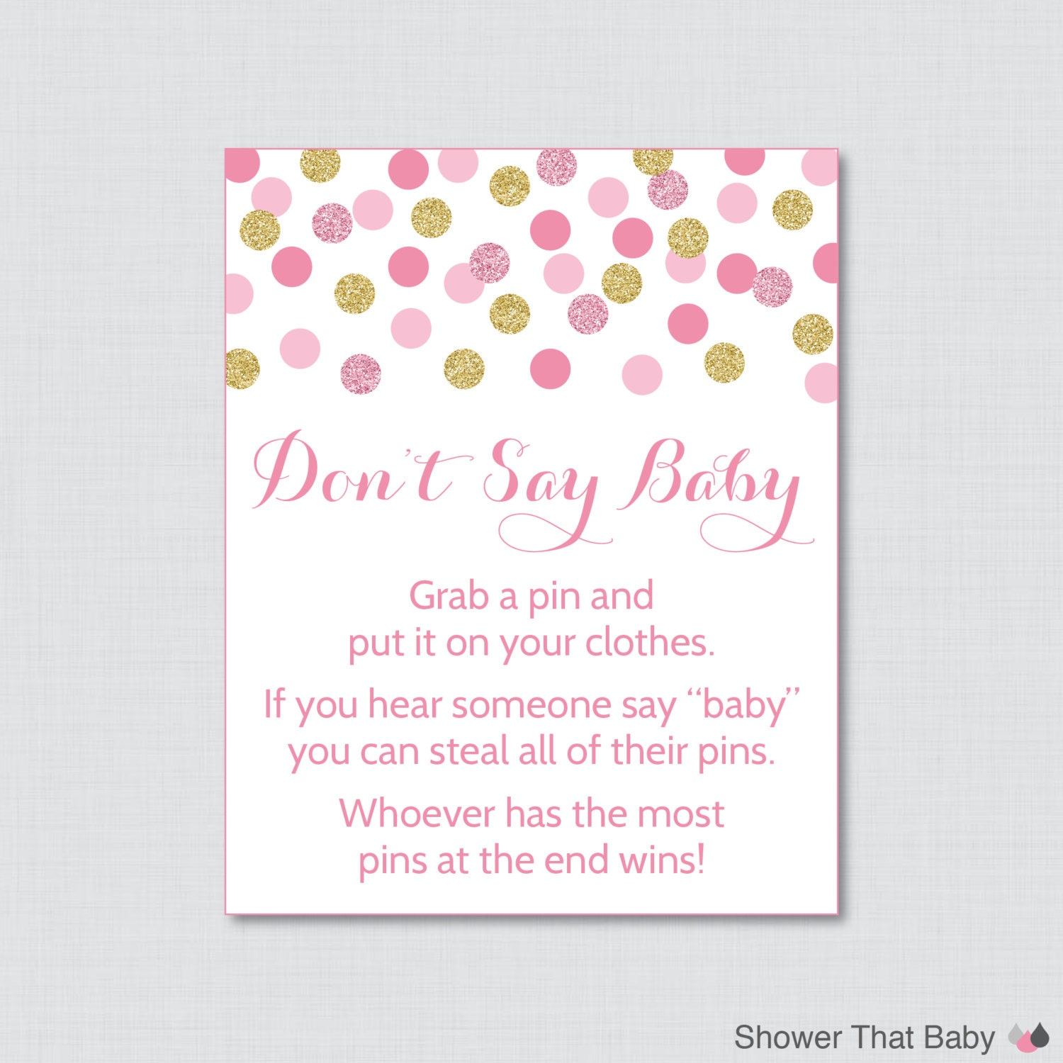 don 39 t say baby baby shower game printable pink and gold