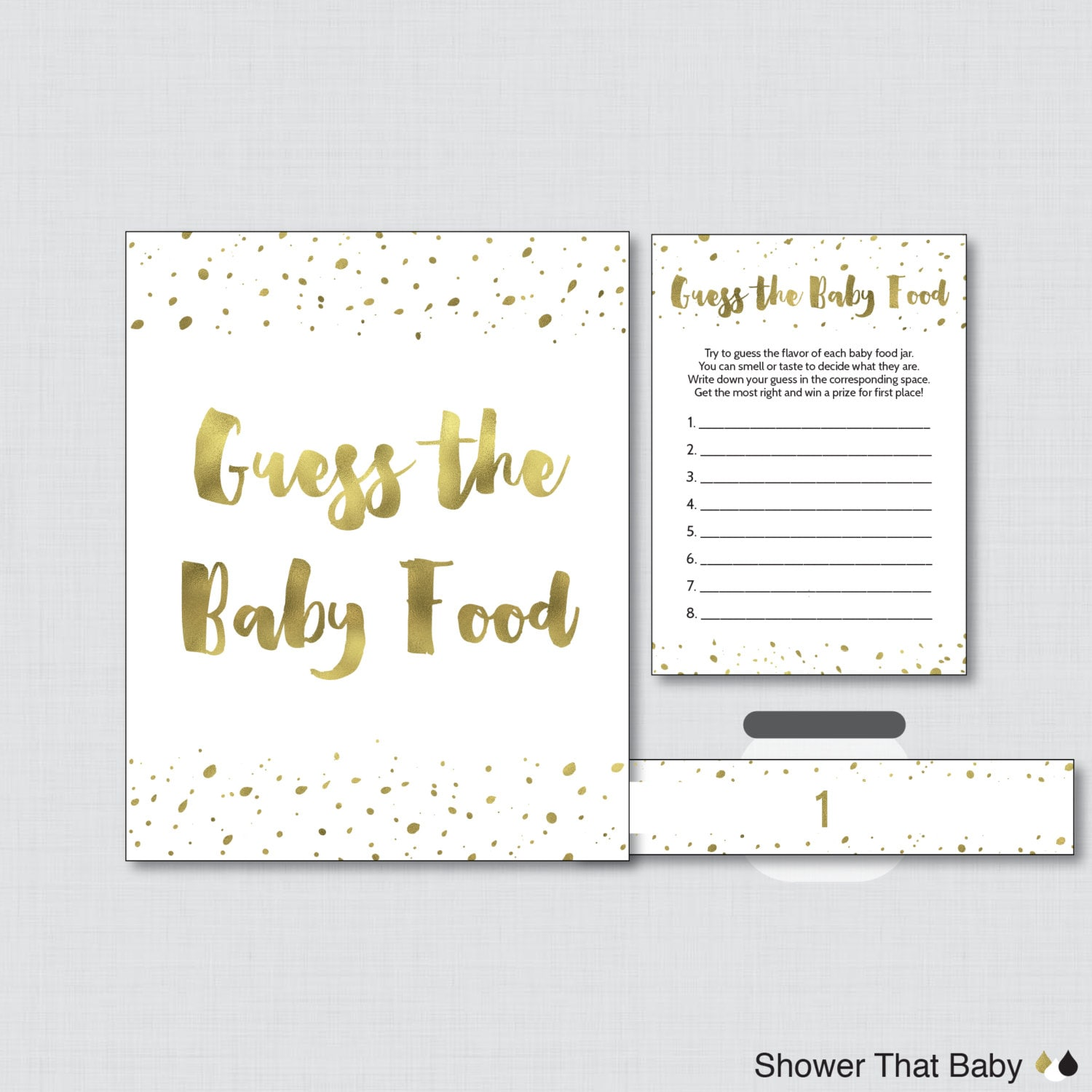 white and gold baby shower game guess the baby food activity